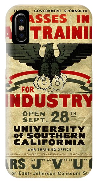 Classes In War Training For Industry - Vintage Poster Folded IPhone Case