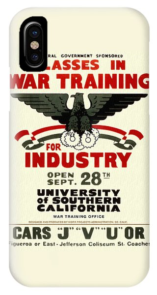 Classes In War Training For Industry - Vintage Poster Restored IPhone Case