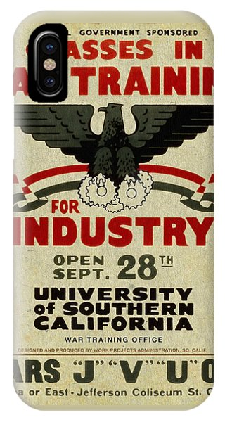 Classes In War Training For Industry - Vintage Poster Vintagelized IPhone Case