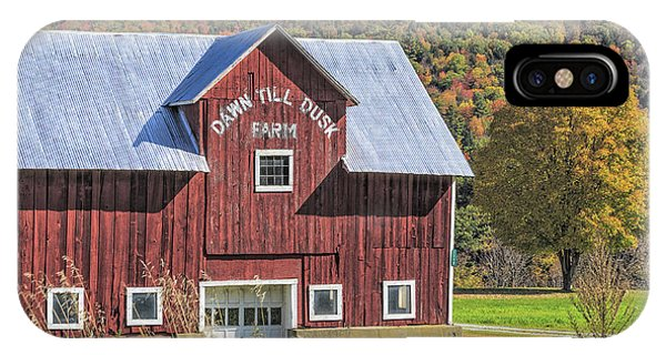 New England Barn iPhone Case - Classic New England Barn In Autumn by Edward Fielding