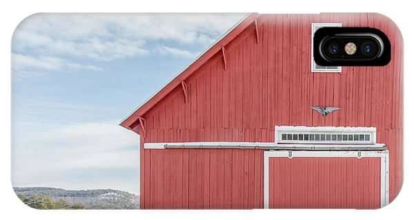 New England Barn iPhone Case - Classic New England Red Barn In Winter Newport New Hampshire by Edward Fielding