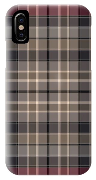 Classic Plaid Pattern In Black, Burgundy, Gray, And Beige IPhone Case