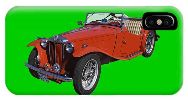 Classic Red Mg Tc Convertible British Sports Car IPhone Case