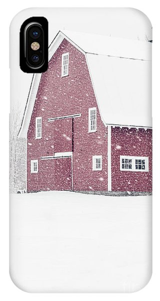 New England Barn iPhone Case - Classic Red New England Barn During A Snowstorm by Edward Fielding