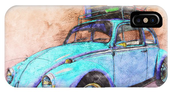 Classic Road Trip Ride Watercolour Sketch IPhone Case