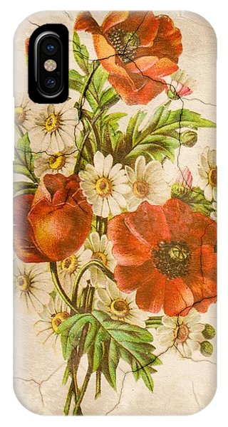 Classic Vintage Shabby Chic Rustic Poppy Bouquet IPhone Case