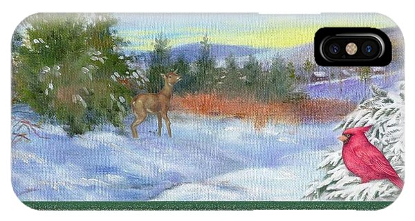 Classic Winterscape With Cardinal And Reindeer IPhone Case