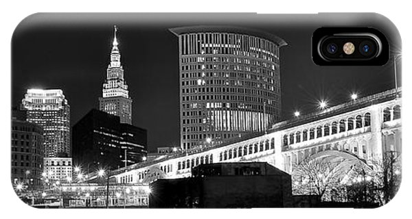 Chicago Skyline Art iPhone Case - Cleveland Black And White Panoramic by Frozen in Time Fine Art Photography
