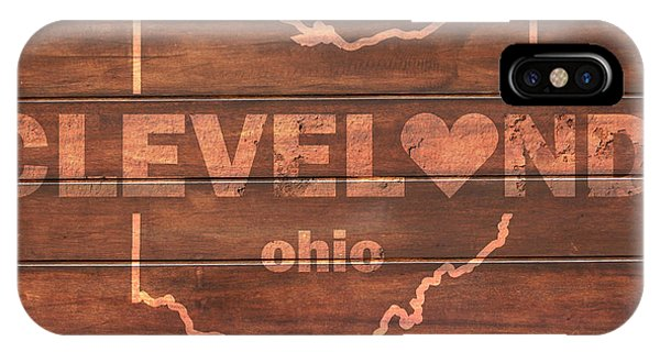 Cleveland Heart Wording With Ohio State Outline Painted On Wood Planks IPhone Case