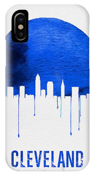 Midwest iPhone Case - Cleveland Skyline Blue by Naxart Studio