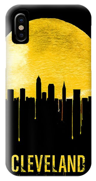 Midwest iPhone Case - Cleveland Skyline Yellow by Naxart Studio