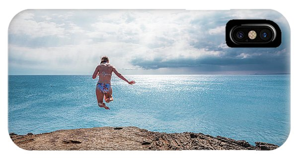 IPhone Case featuring the photograph Cliff Jumping by Break The Silhouette