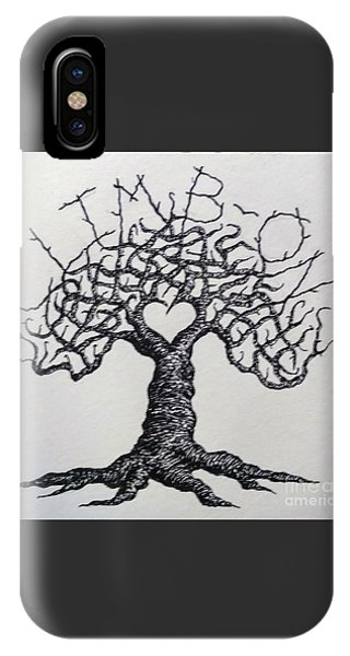 IPhone Case featuring the drawing Climb-on Love Tree- Blk/wht by Aaron Bombalicki