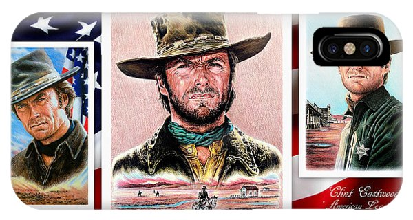 Coloured Pencil iPhone Case - Clint Eastwood American Legend 2nd Ver by Andrew Read