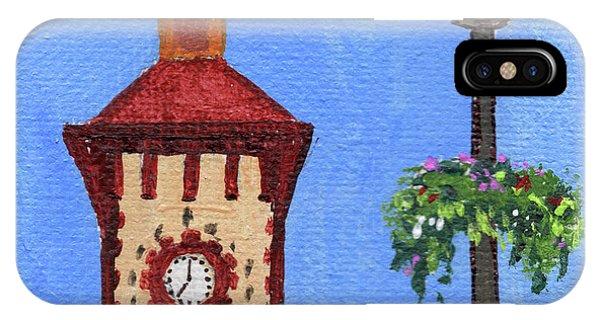 Clock iPhone Case - Clock Tower Impressionistic Landscape Xxxvii by Irina Sztukowski