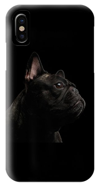 Dog iPhone X Case - Close-up French Bulldog Dog Like Monster In Profile View Isolated by Sergey Taran