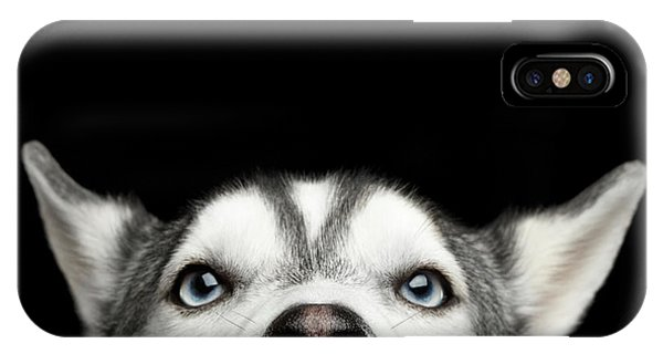 Close-up Head Of Peeking Siberian Husky IPhone Case