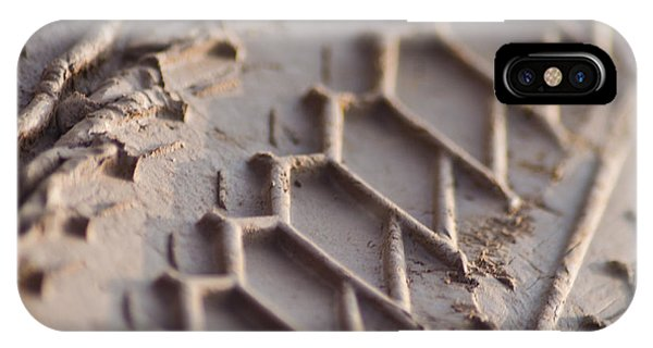 Close Up Of Motorcycle Tread Pattern On Muddy Trail IPhone Case