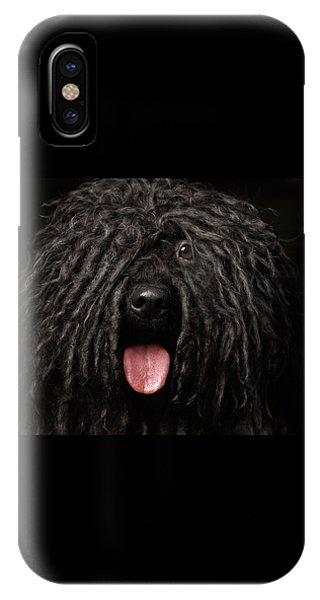Dog iPhone X Case - Close Up Portrait Of Puli Dog Isolated On Black by Sergey Taran