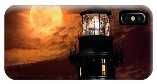 Closeup Of Full Moon Rising Over St Augustine Lighthouse IPhone Case
