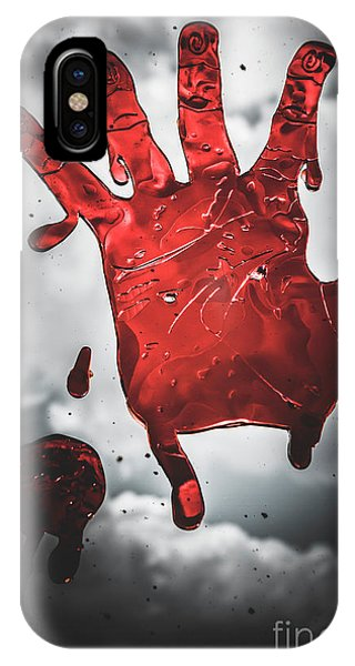 Nobody iPhone Case - Closeup Of Scary Bloody Hand Print On Glass by Jorgo Photography - Wall Art Gallery