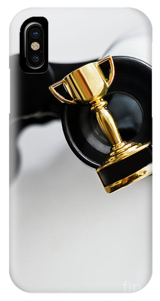 Small Business iPhone Case - Closeup Of Small Trophy And Binoculars On White Background by Jorgo Photography - Wall Art Gallery