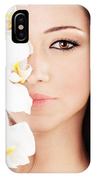 Closeup On Beautiful Face With Flowers IPhone Case