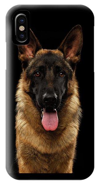 Dog iPhone X Case - Closeup Portrait Of German Shepherd On Black  by Sergey Taran