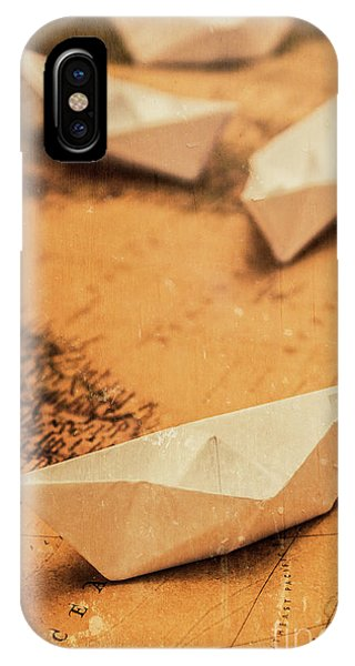 Navigation iPhone Case - Closeup Toned Image Of Paper Boats On World Map by Jorgo Photography - Wall Art Gallery