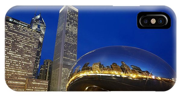 Bean Town iPhone Case - Cloud Gate The Bean Sculpture In Front by Axiom Photographic