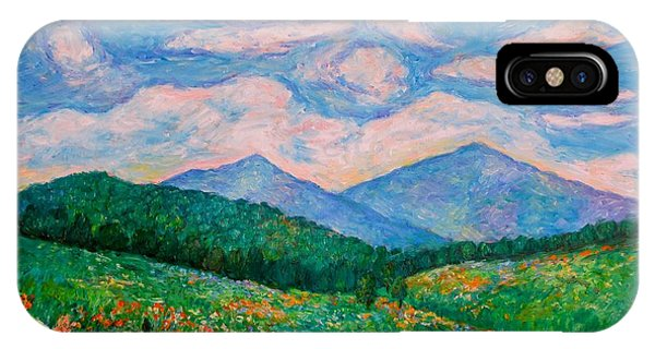IPhone Case featuring the painting Cloud Swirl Over The Peaks Of Otter by Kendall Kessler