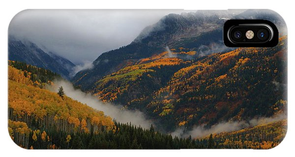 Clouds And Fog Encompass Autumn At Mcclure Pass In Colorado IPhone Case