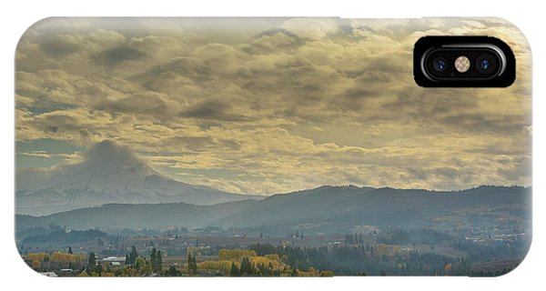 Clouds And Sun Rays Over Mount Hood And Hood River Oregon IPhone Case