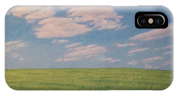 Clouds Over Green Field IPhone Case