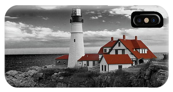 Clouds Over Portland Head Lighthouse 3 - Bw IPhone Case