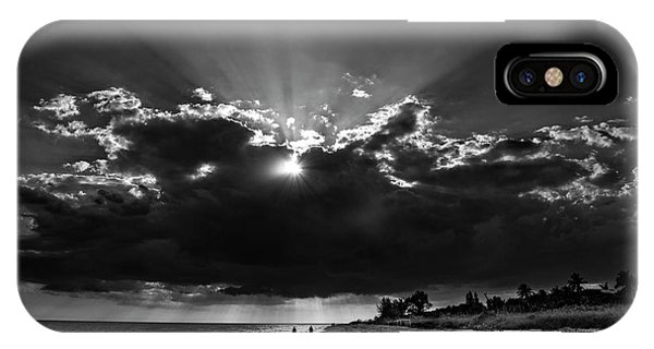 Clouds Over Sanibel Island Florida In Black And White IPhone Case