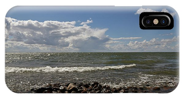 IPhone Case featuring the pyrography Clouds Over Sea by Magnus Haellquist