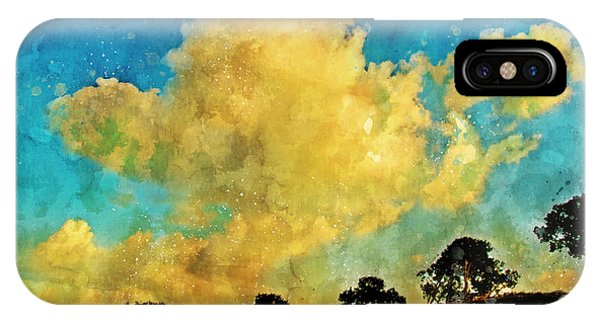 Treeline iPhone Case - Clouds Over The Treeline Ink And Watercolour Sketch by Chas Sinklier