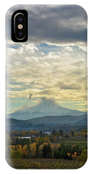 Cloudy Day Over Mount Hood At Hood River Oregon IPhone Case