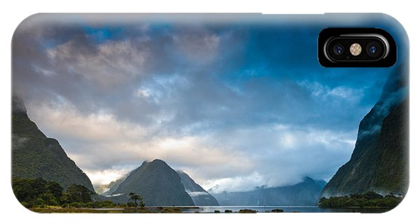 Cloudy Morning At Milford Sound At Sunrise IPhone Case