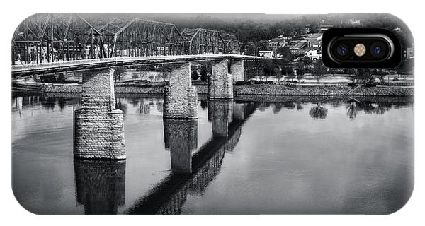 Cloudy Morning At The Walnut Street Bridge In Black And White IPhone Case