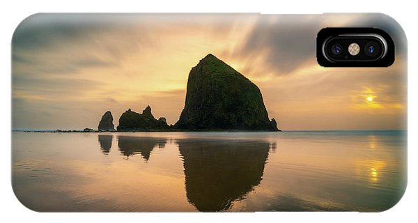 Cloudy Sunset At Cannon Beach IPhone Case