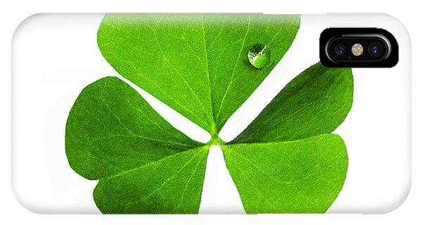 IPhone Case featuring the photograph Clover And Water Droplet by Roger Bester