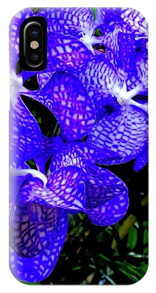 Cluster Of Electric Blue Vanda Orchids IPhone Case