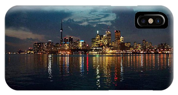 Cn  Tower And Toronto Down Town Water Front Beauty At Night Full Blast Photo IPhone Case