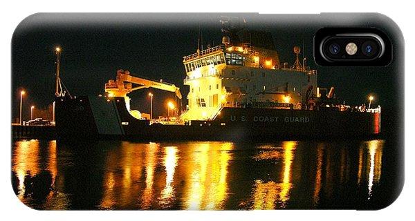 Coast Guard Cutter Mackinaw At Night IPhone Case