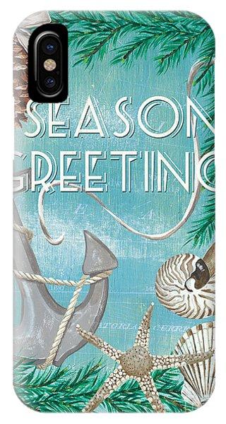 Design iPhone Case - Coastal Christmas Card by Debbie DeWitt