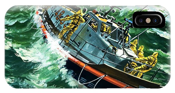 Bravery iPhone Case - Coastguard Lifeboat by Wilf Hardy