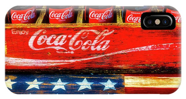 Gay Pride Flag iPhone Case - Coca Cola And Wooden American Flag by Garry Gay