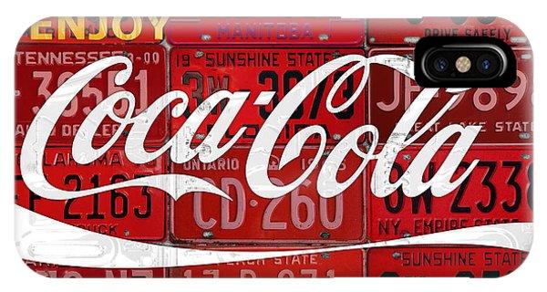Drink iPhone Case - Coca Cola Enjoy Soft Drink Soda Pop Beverage Vintage Logo Recycled License Plate Art by Design Turnpike